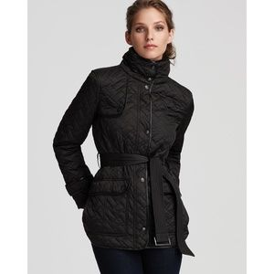 Cole Haan Black Stand Collar Quilted Jacket